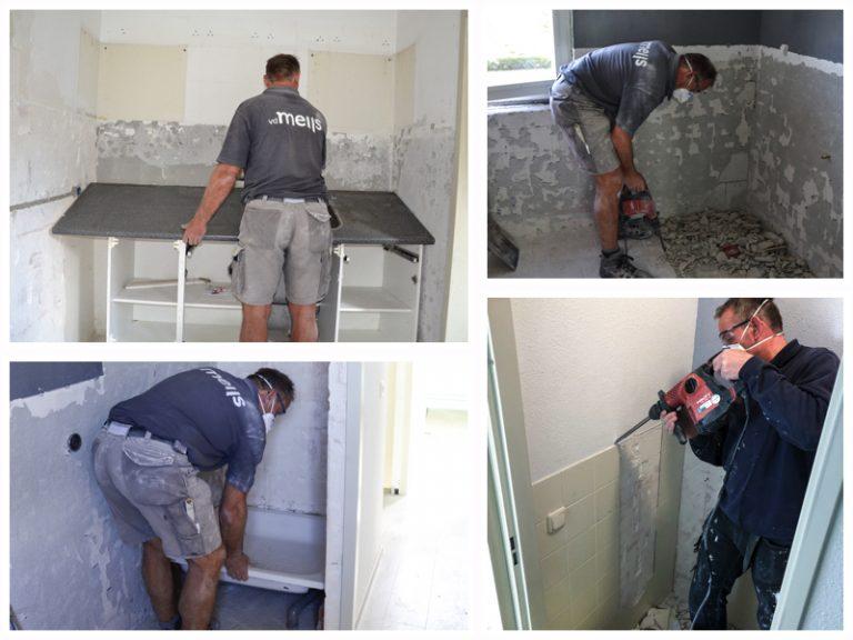 Renovatie van keuken, badkamer en wc tijdens mutatie